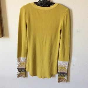 Free People Tops - Free People Golden Yellow Thermal Lace Wrist Hems